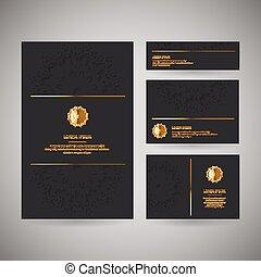 装飾用, セット, ビジネス, 金, color., 4, 花, 東洋人, カード, 黒, mandala, テンプレート