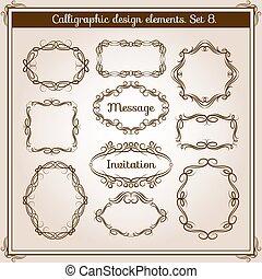 装飾用, セット, frames., 枝編み細工, フレーム, calligraphic, ベクトル, レトロ, 花, 活気づきなさい, 図画