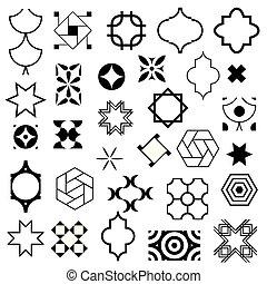 装飾用, セット, illustration., 抽象的, シンボル, ベクトル, ベクトル, ロゴ, デザイン, アラビア, 典型的, style., templates.