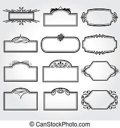 装飾用, フレーム, ベクトル, セット, 型