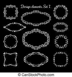 装飾用, ベクトル, ブラケット, テキスト, 手, frames., 華やか, 活気づきなさい, 図画