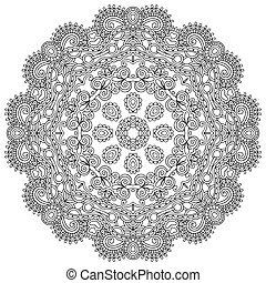 装飾用, レース, 装飾, パターン, 円, 黒, コレクション, 幾何学的, ドイリー, 白, ラウンド