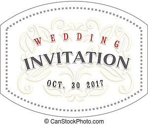 装飾用, 背景, 型, フレーム, ヘッダー, 装飾, invitation., ペーパー, テンプレート, 結婚式, ボーダー
