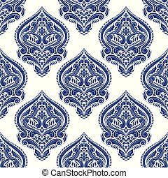 装飾用, elements., 考え, 包装, 伝統的である, 民族, (どれ・何・誰)も, 青い羽布, pattern., seamless, 型, indian, motifs., 白, 織物, ペイズリー織, トルコ語, ornament., 切望された, 壁紙, 偉人, ∥あるいは∥