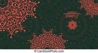 装飾用, mandala, のように, フレーム, 定型, 緑, 暗い, 花