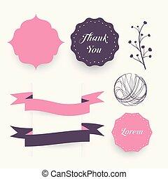 装飾的な 要素, florals, フレーム, デザイン, 結婚式, リボン