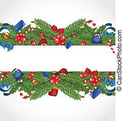 装飾, カード, 休日, クリスマス, 優雅さ