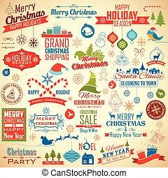 装飾, クリスマス, デザイン, 印刷である, calligraphic
