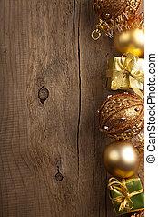 装飾, クリスマス, 背景, 金