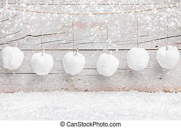 装飾, クリスマス, 背景, 雪