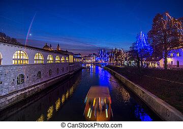 装飾, スロベニア, ljubljana, クリスマス, 資本