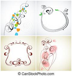 装飾, セット, calligraphic