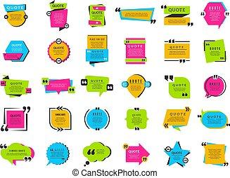 装飾, タグ, 箱, 引用, 印, ベクトル, コレクション, テキスト, texting, フレーム, bubbles...