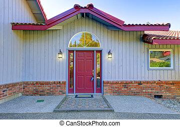 装飾, ドア, 2, ランプ, 前部, 赤, 光景