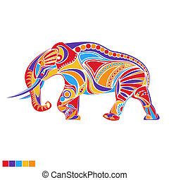 装飾, ベクトル, シルエット, 象
