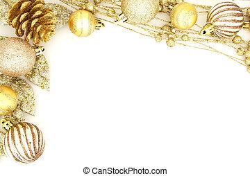 装飾, ボーダー, クリスマス, 金