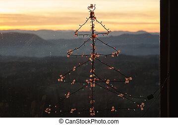 装飾, ライト, 形, 木, クリスマス