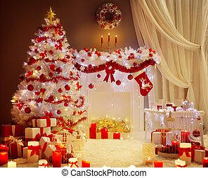 装飾, 内部, 木, 部屋, クリスマス, 暮らし, 休日, クリスマス, 現場, ライト, 暖炉