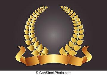 装飾, 月桂樹の冠, 金, ロゴ
