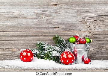 装飾, 木製である, 上に, クリスマス, 背景