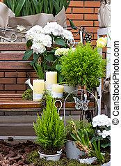 装飾, 構成, hydrangea., 庭