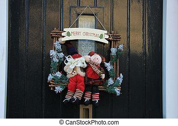 装飾, 玄関, クリスマス, 陽気