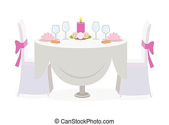 装飾, 結婚式, 贅沢, サービスされた, プレート, テーブル