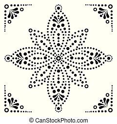 装飾, 絵, オーストラリア, ベクトル, 花, デザイン, 固有, 黒, 点, 白, 伝統的である, 背景, 原生の芸術