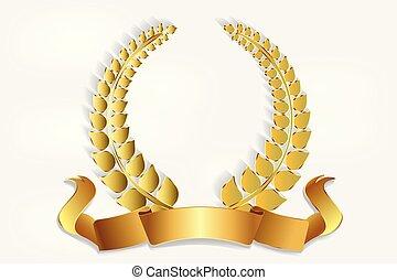 装飾, 花輪, ロゴ, 金, 月桂樹