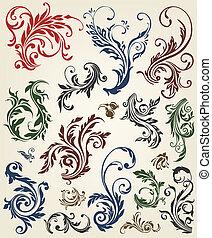 装飾, 花, ベクトル, 要素