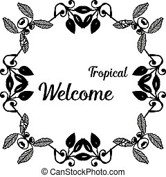 装飾, 花, wellcome, フレーム, イラスト, トロピカル, ベクトル, カード