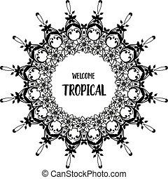 装飾, 花, wellcome, フレーム, 壁紙, イラスト, トロピカル, ベクトル, 華やか
