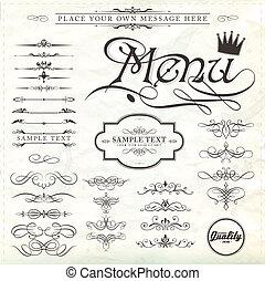 装飾, 要素, デザイン, ページ, calligraphic