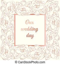 装飾, 豊富, 金のカード, バラ, フレーム, 招待, テキスト, 贅沢, 背景, 結婚式, 複雑, 場所, バロック式, 白