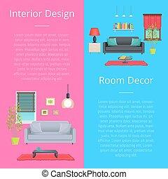 装飾, 部屋, イラスト, ベクトル, デザイン, 内部