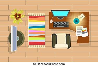 装飾, 部屋, オフィス, イラスト, ベクトル, 内部