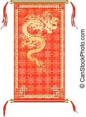装飾, 金, ドラゴン, スクロール, 赤, アジア人