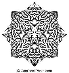 装飾, mandala., pattern., ラウンド