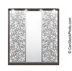 装飾, mirrors., 木製である, イラスト, 大きい, ワードローブ, 3d