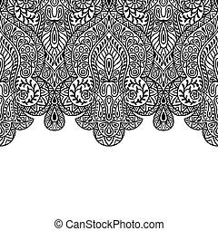 装飾, seamless, 手, indian, 民族, 引かれる, birder