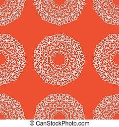装飾, seamless, 手, mandala., 東洋人, 背景, オレンジ, 引かれる, color., 無限