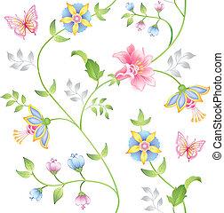 装飾, seamless, 花の要素, セット