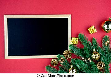 装飾, text., 年, 上, concept., 新しい, 光景, 葉書, クリスマス, 冬, コピー, 赤, スペース, 平ら, 位置, 構成, テンプレート, 背景, ホリデー, 黒板