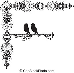 装飾, vectors, 愛, 2, 鳥