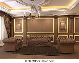 装饰, 金色, 天花板, 公寓, luxe., 沙发, 现代, 皇家, chandelier., 建设, interior., 扶手椅子, chesterfield