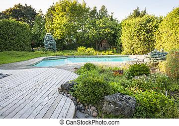 裏庭, 庭, プール, 水泳