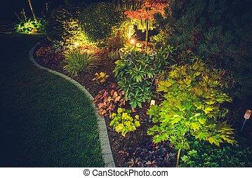 裏庭, 照らされた, 庭