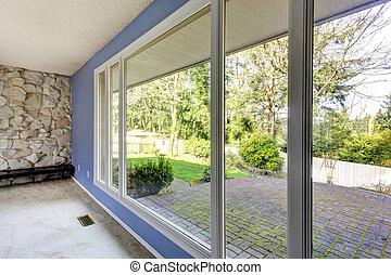 裏庭, 窓, によって, 光景