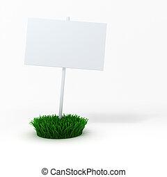 補丁, 綠色, 板, 空白, 新鮮, 草,  3D