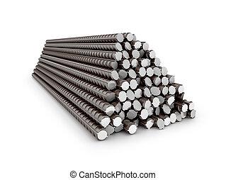 補強された, バー, セット, steel., イラスト, reinforcement., 3d